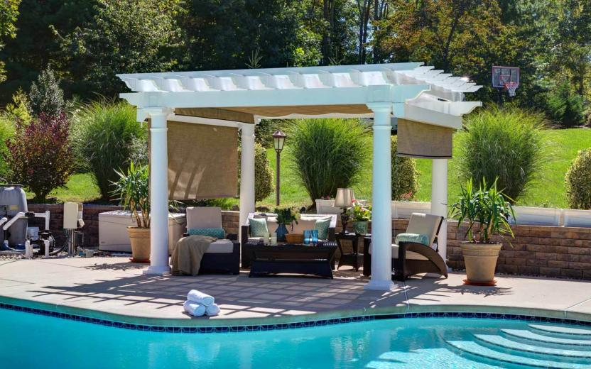 "10x14' Artisan White Vinyl Pergola with 10"" Columns, EZ-Shade Canopy and EZ-Shade Curtains"