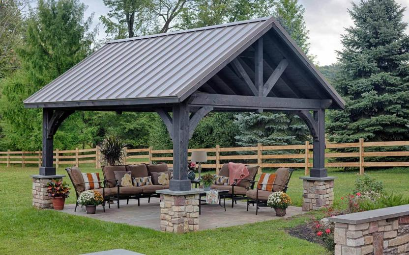 Alpine Cedar Wood Pavilion with Cinder Stain