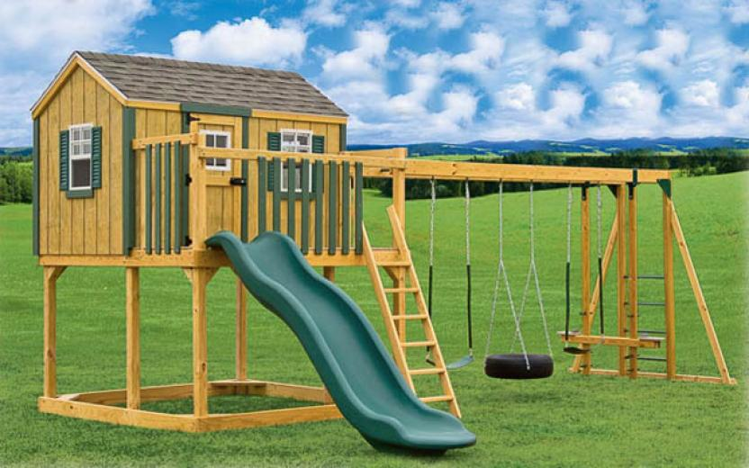 wooden swingset, playhouse, and sandbox