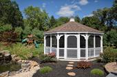 20' Octagon Colonial style gazebo with white vinyl, tech windows and cupola